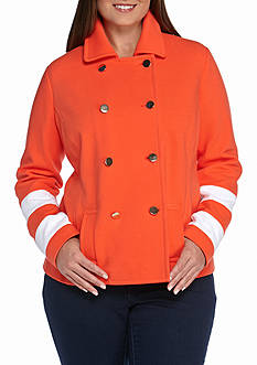 Crown & Ivy™ Plus Size Textured Colorblock Sleeve Jacket
