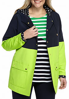 Crown & Ivy™ Plus Size Color Block Hooded Jacket