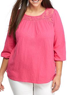 Crown & Ivy™ Plus Size Crochet Yoke Knit Peasant Top