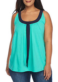 Crown & Ivy™ Plus Size Bow Neck Top