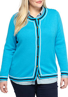 crown & ivy™ Plus Size Contrast Trim Cardigan