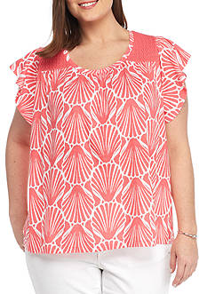 Crown & Ivy™ Plus Size Flutter Sleeve Top