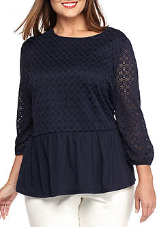 crown & ivy™ Plus Size Lace Top With Peplum Bottom