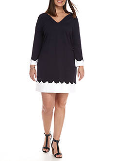 Crown & Ivy™ Plus Size Scalloped Color Block Dress