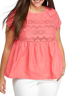 Crown & Ivy™ Plus Size Eyelet  Top