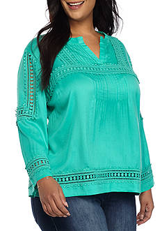 Crown & Ivy™ Plus Size Textured Peasant Top