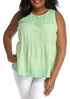 Crown & Ivy™ Plus Size Textured Swing Tank
