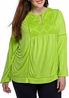 Crown & Ivy™ Plus Size Eyelet Bib Knit Top