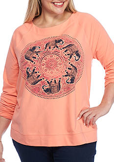 Crown & Ivy™ Plus Size Graphic Swing Sweatshirt