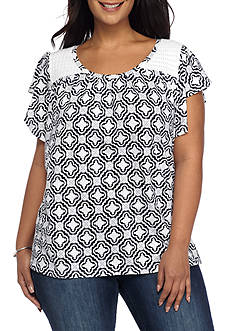 Crown & Ivy™ Plus Size Flutter Sleeve Print Top