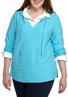 crown & ivy™ Plus Size Textured Stripe Sweatshirt