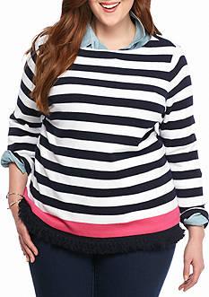 Crown & Ivy™ Plus Size Fringe Hem Stripe Sweatshirt