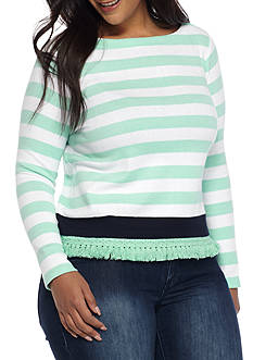 Crown & Ivy™ Plus Size Stripe Sweatshirt