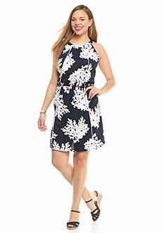 crown & ivy™ Plus Size Sea Coral Halter Dress
