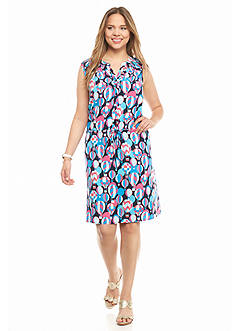 crown & ivy™ Plus Size Bold Balloons Sleeveless Shirtdress