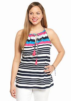 crown & ivy™ Plus Size Summer Stripe Crochet Back Halter Top