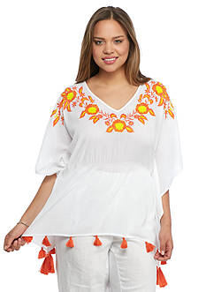 crown & ivy™ beach Plus Size Embroidered Tassel Poncho