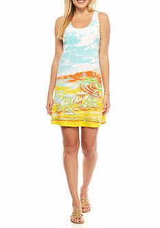 Crown & Ivy™ Plus Size Beach Scene Racerback Dress
