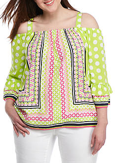 Crown & Ivy™ Plus Size Print Flare Sleeve Cold Shoulder Top