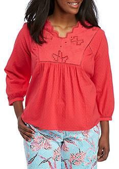 Crown & Ivy™ Plus Size Three Quarter Sleeve Bib top