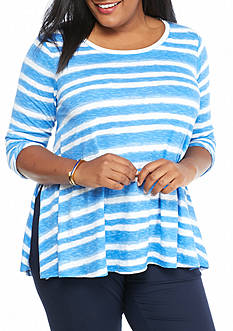 crown & ivy™ Plus Size Striped Swing Top