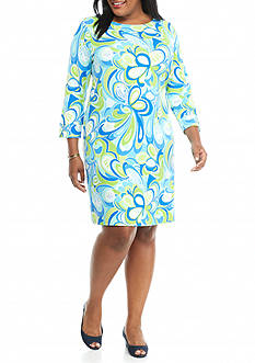 crown & ivy™ beach Plus Size Shift Beach Dress