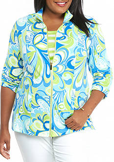 crown & ivy™ beach Plus Size Printed Full Zip Sweatshirt