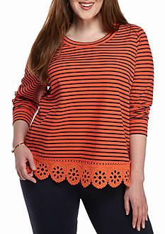 crown & ivy™ Plus Size Shiffli Bottom Sweatshirt
