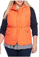 Plus Size Hooded Quilted Vest