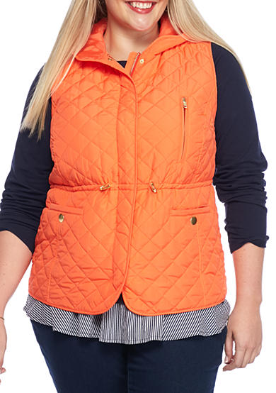 crown & ivy™ Plus Size Hooded Quilted Vest