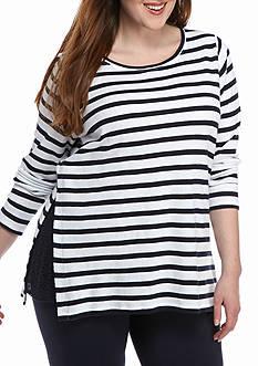 Crown & Ivy™ Plus Size Lace Inset Sweatshirt