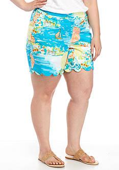 Crown & Ivy™ Plus Size Print Scallop Hem Shorts