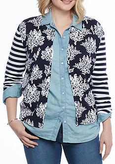 Crown & Ivy™ Plus Size Printed Cardigan