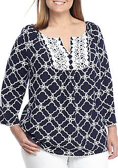Crown & Ivy™ Plus Size Print Woven Peasant Top