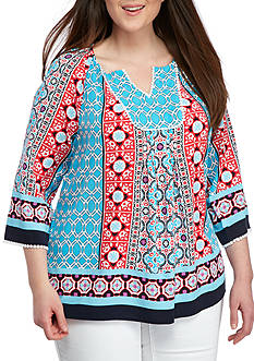 Crown & Ivy™ Plus Size Woven Print Pullover Top