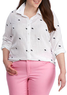 Crown & Ivy™ Plus Size Embroidered Woven Shirt