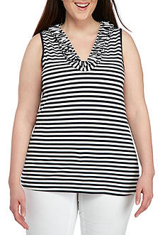 Crown & Ivy™ Plus Size Stripe Sleeveless Ruffle Neck Top