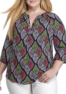 Crown & Ivy™ Plus Size Print Peasant Top