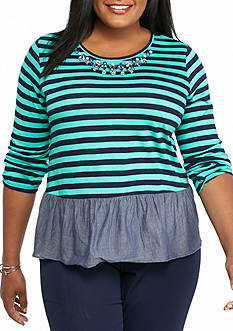 crown & ivy™ Plus Size Striped Knit Top