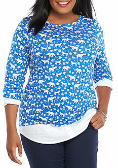 crown & ivy™ Plus Size Print Knit Top