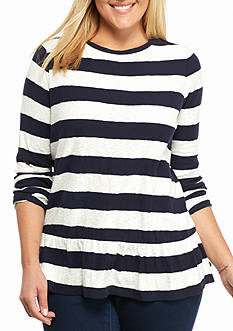 crown & ivy™ Plus Size Stripe Peplum Top