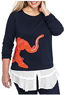 crown & ivy™ Plus Size Embroidered Elephant