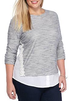 crown & ivy™ Plus Size Lace Trim Sweatshirt