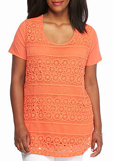 crown & ivy™ Plus Size Crochet Front Swing Top