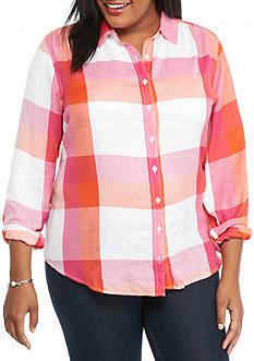 crown & ivy™ Plus Size Plaid Shirt
