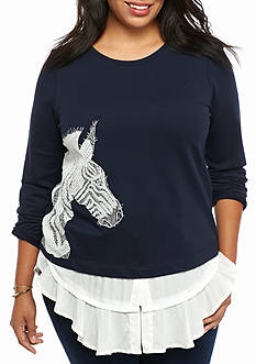 crown & ivy™ Plus Size Zebra Embroidered 2Fer Top