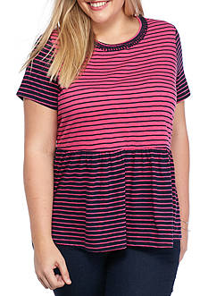crown & ivy™ Plus Size Striped Peplum Top