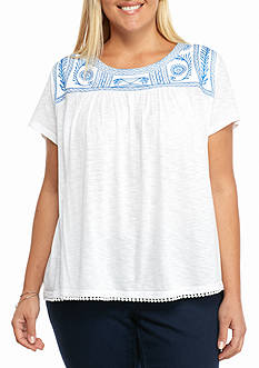 crown & ivy™ Plus Size Embroidered Yoke Top