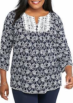 crown & ivy™ Plus Size Elephant Crochet Trim Top