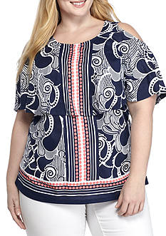 Crown & Ivy™ Plus Size Sleeveless Popover Top
